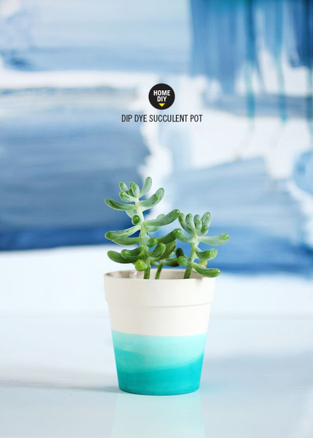DIY Ideas for Clay Pots - Dip Dye Succulent Pot - Cute Gardening Projects Tutorials for Decorating Pots - Pretty Rustic and Farmhouse Planters for Cheap Home Decor