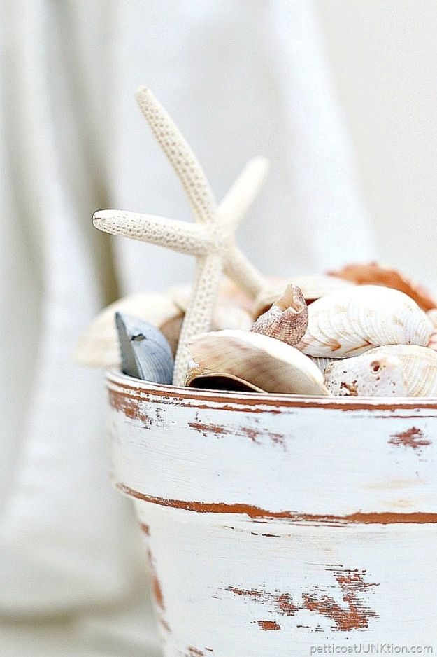 DIY Ideas for Clay Pots - Distressed White Terra Cotta Clay Pot - Cute Gardening Projects Tutorials for Decorating Pots - Pretty Rustic and Farmhouse Planters for Cheap Home Decor