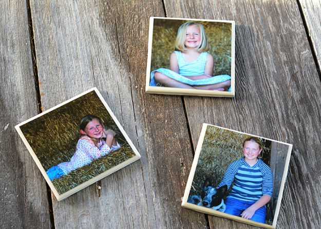 Easy Mothers Day Gifts - Easy DIY Photo Coasters - Cute Crafts and Homemade Presents for Mom | Thoughtful Gift Ideas to Make For Mother