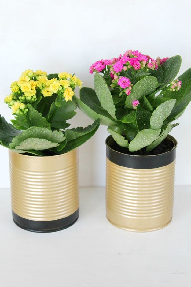DIY Ideas With Tin Cans - Easy DIY Tin Can Flower Pots - Cheap and Easy Organizing Projects and Crafts Made With A Tin Can - Cool Teen Craft Tutorials and Home Decor