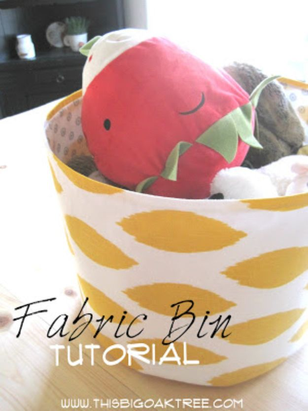 DIY Storage Baskets - Easy Fabric Bin - Cheap and Easy Ideas for Getting Organized - Creative Home Decor on A Budget - Farmhouse, Modern and Rustic Basket Projects