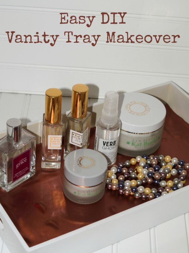 DIY Vanity Trays - Easy Vanity Tray DIY Makeover - Easy Homemade Decor for Bathroom, Bedroom and Vanities - Tray to Store Jewelry and Accessories With These Cool and Easy Crafts