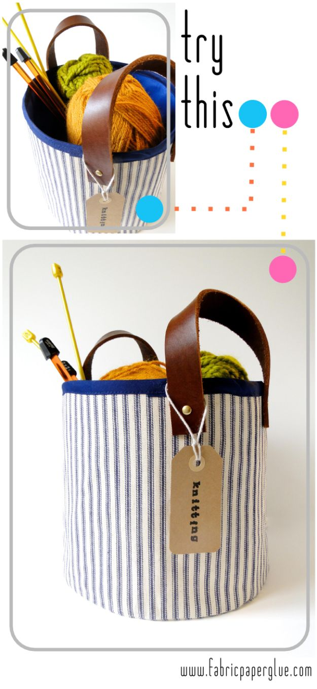 DIY Storage Baskets - Fabric + Leather Storage Baskets- Cheap and Easy Ideas for Getting Organized - Creative Home Decor on A Budget - Farmhouse, Modern and Rustic Basket Projects