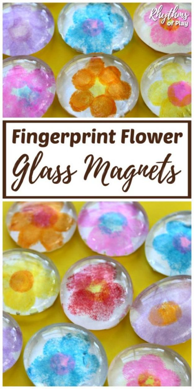 Easy Mothers Day Gifts - Fingerprint Flower Glass Magnets - Cute Crafts and Homemade Presents for Mom | Thoughtful Gift Ideas to Make For Mother