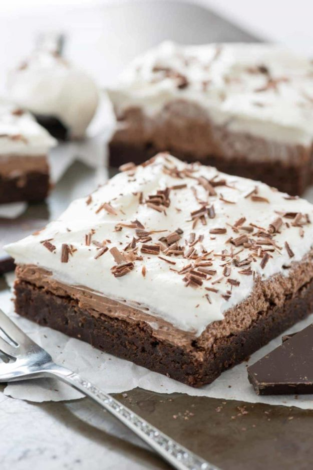 Brownie Recipes | French Silk Brownies - Easy and Healthy Recipe Ideas for Brownies - Chocolate, Blondies, Gluten Free and Caramel