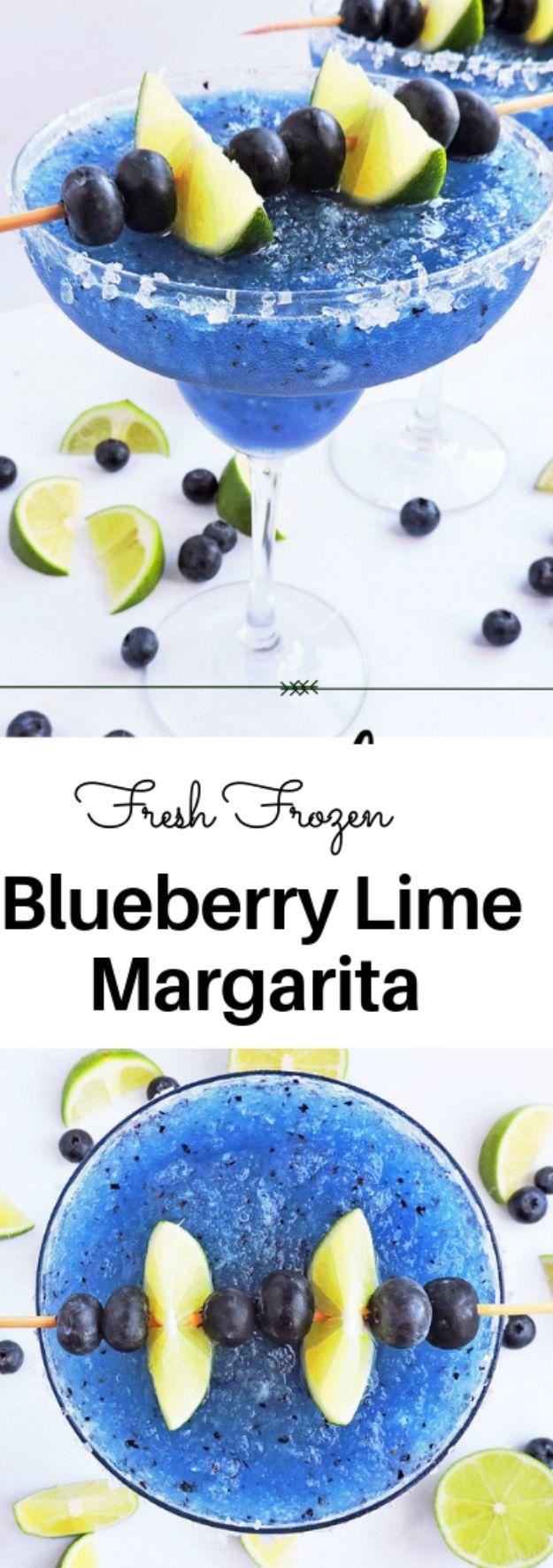 Margarita Recipes - Fresh Frozen Blueberry Lime Margarita - Drink Recipes for a Party - Recipe Ideas for Blender Margaritas - Lime, Strawberry, Fruit | Easy Drinks With Tequila