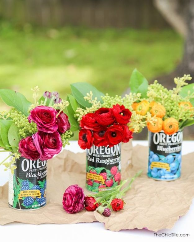 DIY Ideas With Tin Cans - Fruit Can Centerpiece - Cheap and Easy Organizing Projects and Crafts Made With A Tin Can - Cool Teen Craft Tutorials and Home Decor