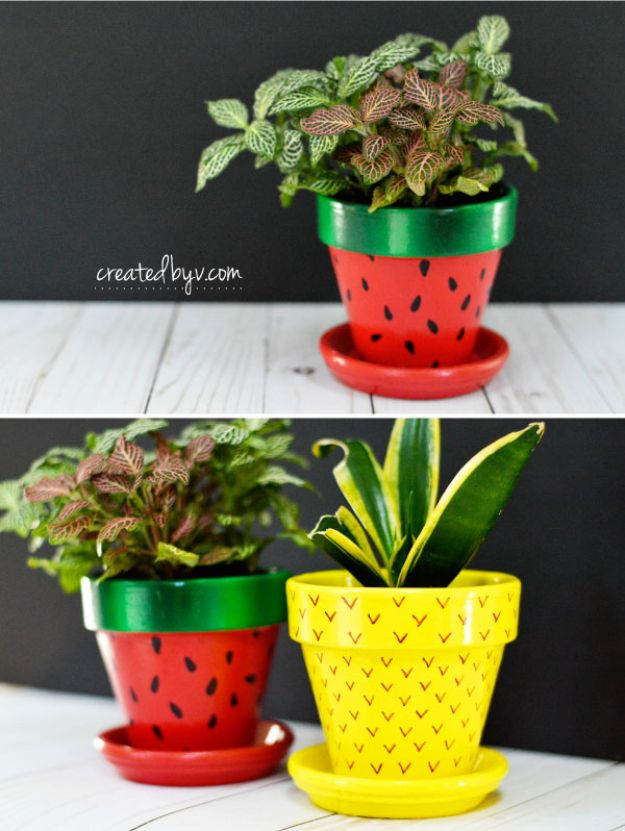 DIY Ideas for Clay Pots - Fruit Inspired Terra Cotta Pots - Cute Gardening Projects Tutorials for Decorating Pots - Pretty Rustic and Farmhouse Planters for Cheap Home Decor