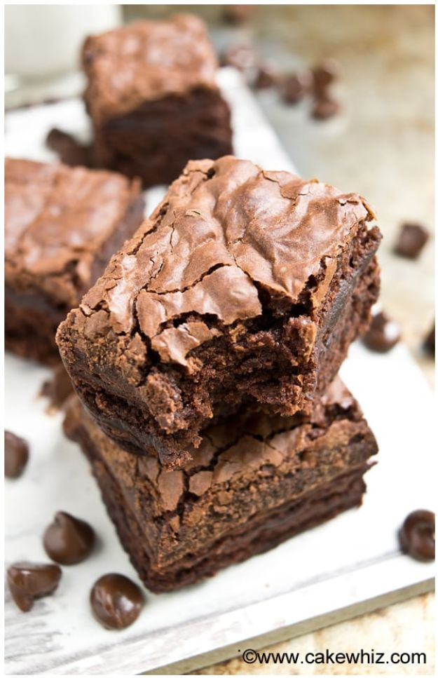 Brownie Recipes   Fudgy Brownies With Crackly Tops - Easy and Healthy Recipe Ideas for Brownies - Chocolate, Blondies, Gluten Free and Caramel