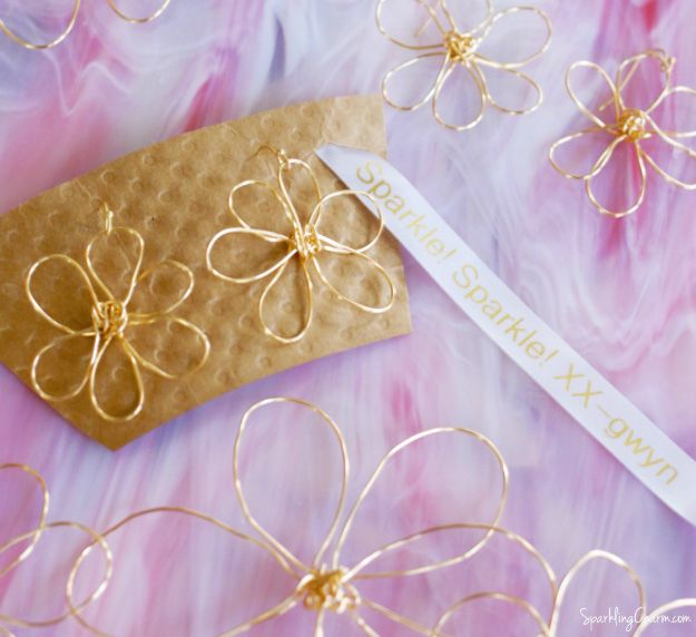 Easy Mothers Day Gifts - Gold Flower Power Earrings - Cute Crafts and Homemade Presents for Mom | Thoughtful Gift Ideas to Make For Mother