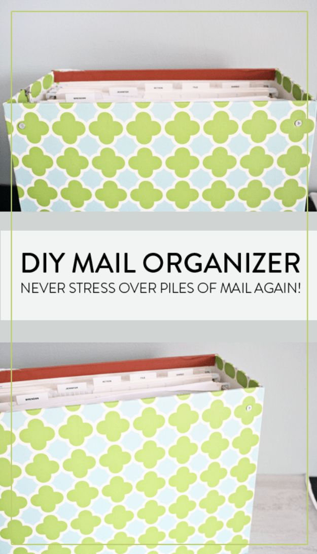 DIY Mail Organizers - Hanging File Mail Organizer - Cheap and Easy Ideas for Getting Organized - Creative Home Decor on A Budget - Farmhouse, Modern and Rustic Mail Sorter, Organizer