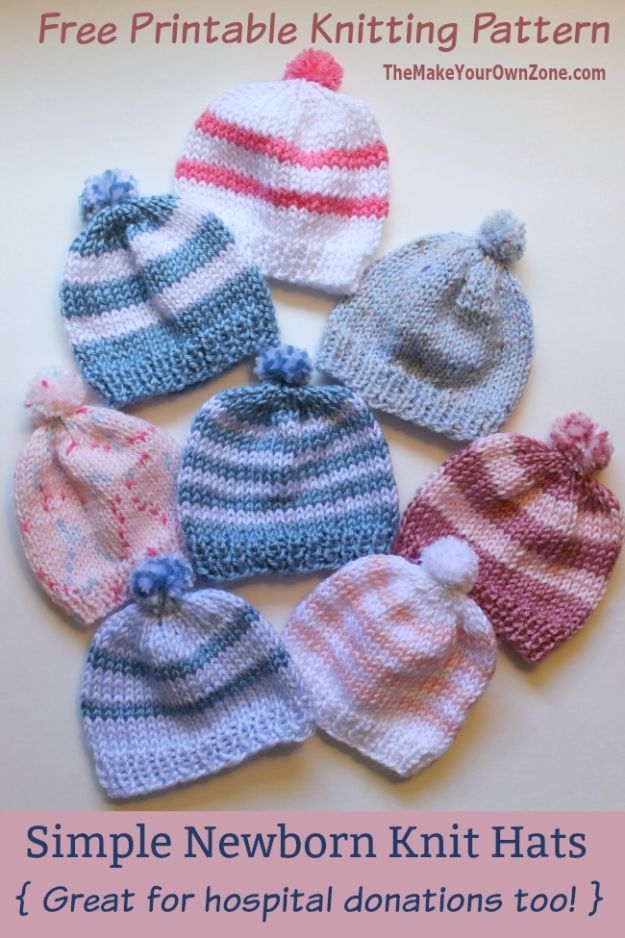 DIY Knitting Ideas for Baby - Knit Newborn Hats For Hospitals - Easy Blanket, Hat, Booties, Toys and Sweater Tutorials to Knit for Babies - Boy and Girl Clothes and Nursery Decor for Gifts