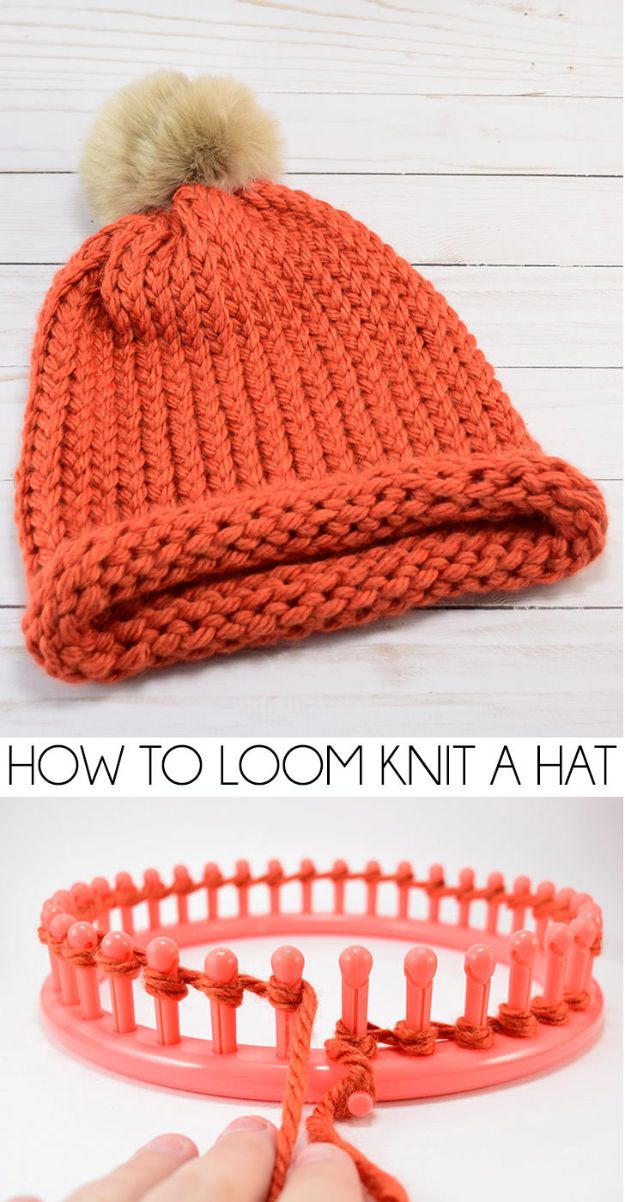 DIY Knitting Ideas for Baby - Loom Knit a Cap – E-Wrap Method - Easy Blanket, Hat, Booties, Toys and Sweater Tutorials to Knit for Babies - Boy and Girl Clothes and Nursery Decor for Gifts