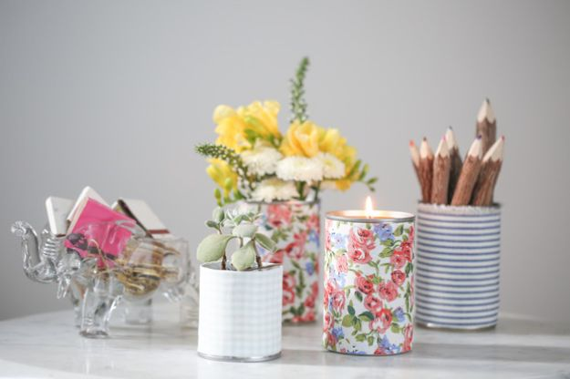 DIY Ideas With Tin Cans - Make Fabric Wrapped Tin Cans - Cheap and Easy Organizing Projects and Crafts Made With A Tin Can - Cool Teen Craft Tutorials and Home Decor