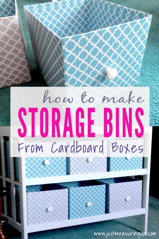 DIY Storage Baskets - Make Storage Bins From Cardboard Boxes - Cheap and Easy Ideas for Getting Organized - Creative Home Decor on A Budget - Farmhouse, Modern and Rustic Basket Projects
