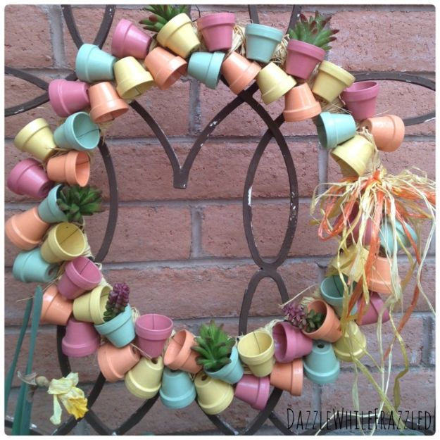 DIY Ideas for Clay Pots - Make Stunning Spring Wreath with Mini Flower Pots - Cute Gardening Projects Tutorials for Decorating Pots - Pretty Rustic and Farmhouse Planters for Cheap Home Decor