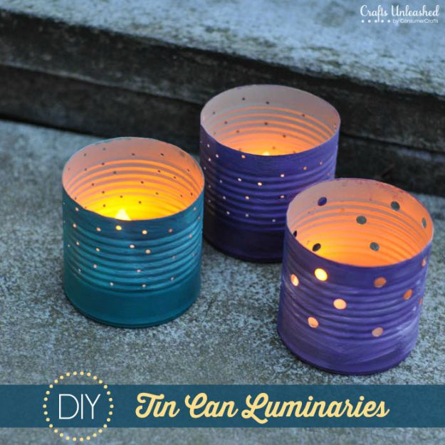 DIY Ideas With Tin Cans - Make Your Own Recycled Luminaries - Cheap and Easy Organizing Projects and Crafts Made With A Tin Can - Cool Teen Craft Tutorials and Home Decor