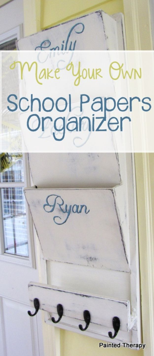DIY Mail Organizers - Make Your Own School Papers Organizer - Cheap and Easy Ideas for Getting Organized - Creative Home Decor on A Budget - Farmhouse, Modern and Rustic Mail Sorter, Organizer