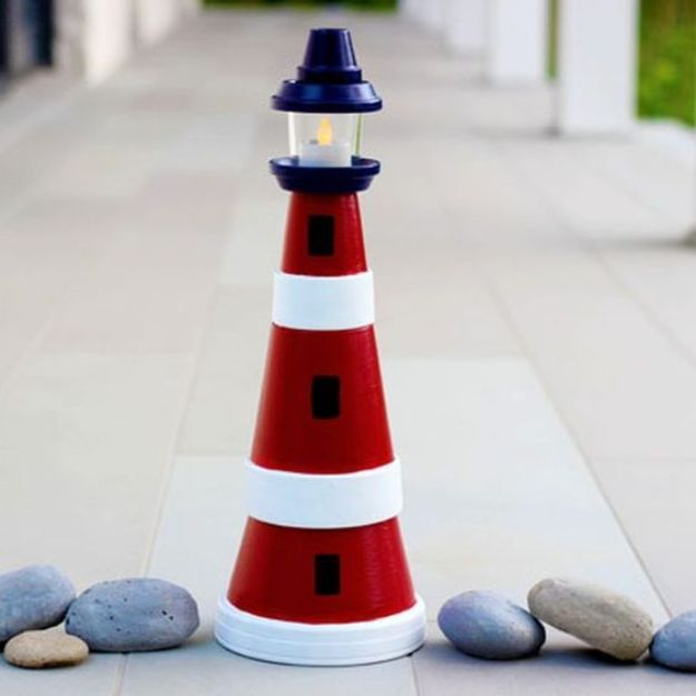 DIY Ideas for Clay Pots - Make a Clay Pot Lighthouse - Cute Gardening Projects Tutorials for Decorating Pots - Pretty Rustic and Farmhouse Planters for Cheap Home Decor