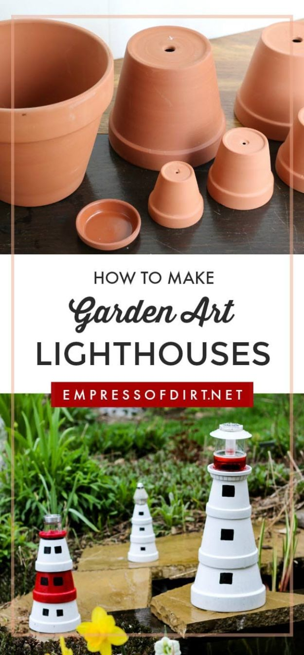 DIY Ideas for Clay Pots - Make a Garden Art Lighthouse from Clay Pots - Cute Gardening Projects Tutorials for Decorating Pots - Pretty Rustic and Farmhouse Planters for Cheap Home Decor