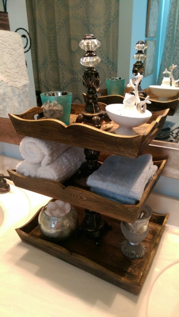 DIY Vanity Trays - Make a Three-Tiered Vanity Tray - Easy Homemade Decor for Bathroom, Bedroom and Vanities - Tray to Store Jewelry and Accessories With These Cool and Easy Crafts
