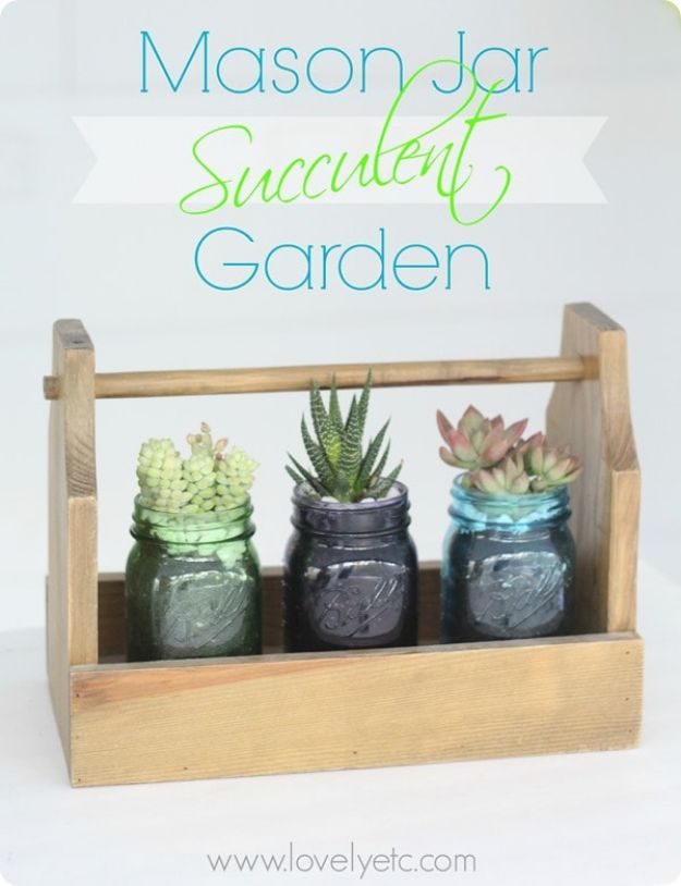 Easy Mothers Day Gifts - Mason Jar Succulent Garden - Cute Crafts and Homemade Presents for Mom | Thoughtful Gift Ideas to Make For Mother