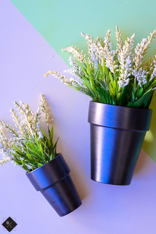 DIY Ideas for Clay Pots - Metallic Clay Pots - Cute Gardening Projects Tutorials for Decorating Pots - Pretty Rustic and Farmhouse Planters for Cheap Home Decor