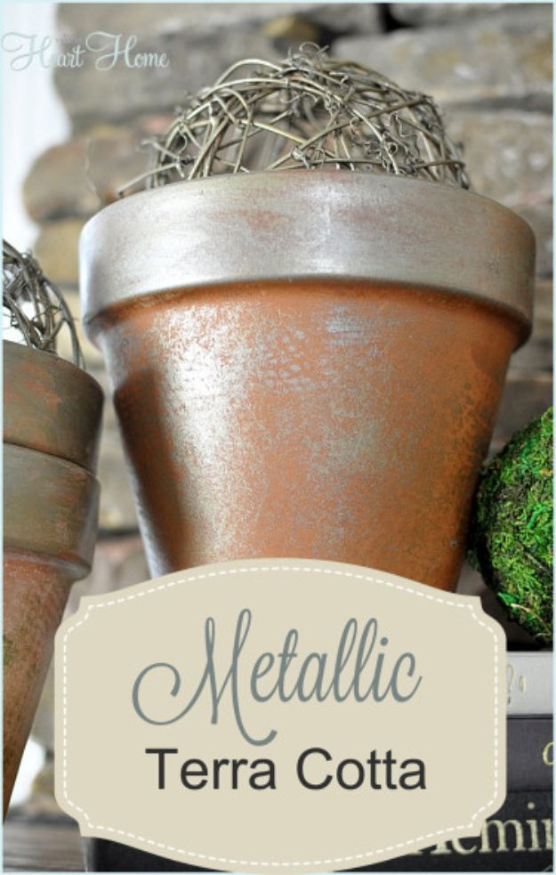 DIY Ideas for Clay Pots - Metallic Terra Cotta - Cute Gardening Projects Tutorials for Decorating Pots - Pretty Rustic and Farmhouse Planters for Cheap Home Decor