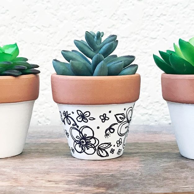 DIY Ideas for Clay Pots - Mini Hand-Drawn Art Clay Pot Planter- Cute Gardening Projects Tutorials for Decorating Pots - Pretty Rustic and Farmhouse Planters for Cheap Home Decor