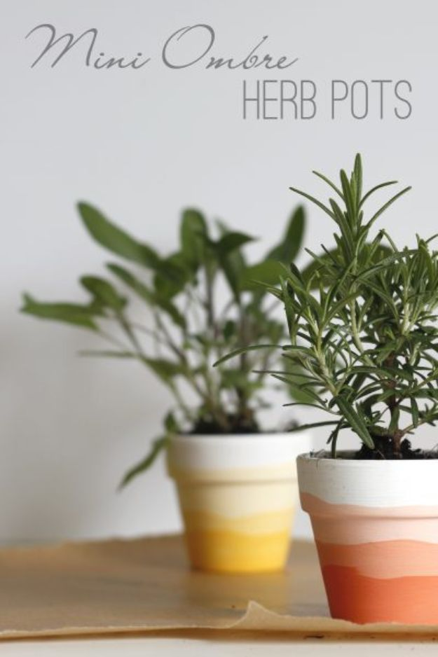DIY Ideas for Clay Pots - Mini Ombre Herb Pots - Cute Gardening Projects Tutorials for Decorating Pots - Pretty Rustic and Farmhouse Planters for Cheap Home Decor