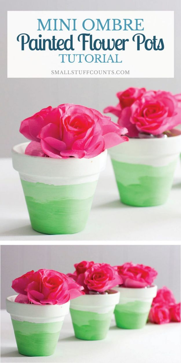 Easy Mothers Day Gifts - Mini Ombre Painted Flower Pots - Cute Crafts and Homemade Presents for Mom | Thoughtful Gift Ideas to Make For Mother