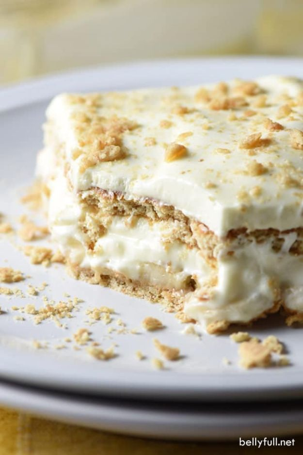 No Bake Desserts | No Bake Banana Cream Lush - Quick Dessert Ideas and Easy Sweets You Can Make Without Baking - Healthy Cookies and Pie
