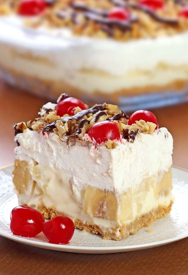 No Bake Desserts | No Bake Banana Split Dessert - Quick Dessert Ideas and Easy Sweets You Can Make Without Baking - Healthy Cookies and Pie