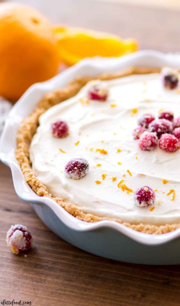 No Bake Desserts | No Bake Cranberry Orange Cream Pie - Quick Dessert Ideas and Easy Sweets You Can Make Without Baking - Healthy Cookies and Pie