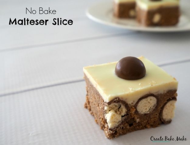 No Bake Desserts | No Bake Malteser Slice - Quick Dessert Ideas and Easy Sweets You Can Make Without Baking - Healthy Cookies and Pie