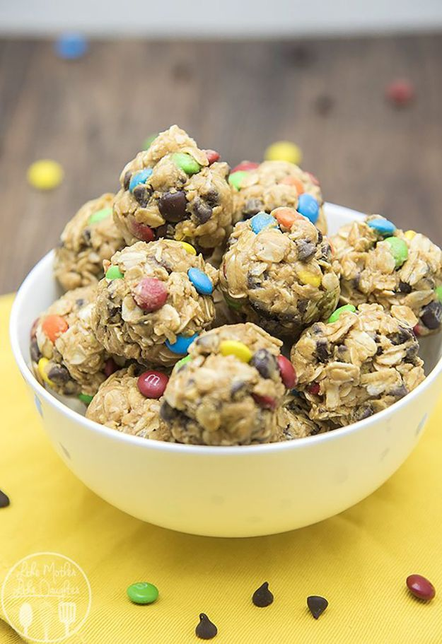 No Bake Cookie Recipes | No-Bake Monster Cookie Granola Bar Bites - Easy and Quick Recipe Ideas for Cookies | Oatmeal, Healthy, Gluten free