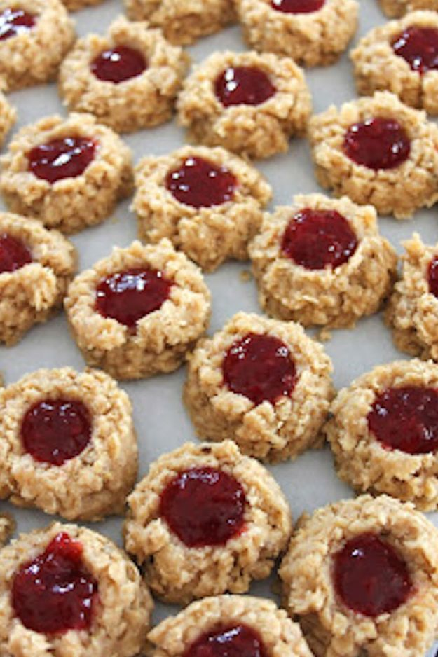 No Bake Cookie Recipes | No Bake PB&J Cookies - Easy and Quick Recipe Ideas for Cookies | Oatmeal, Healthy, Gluten free
