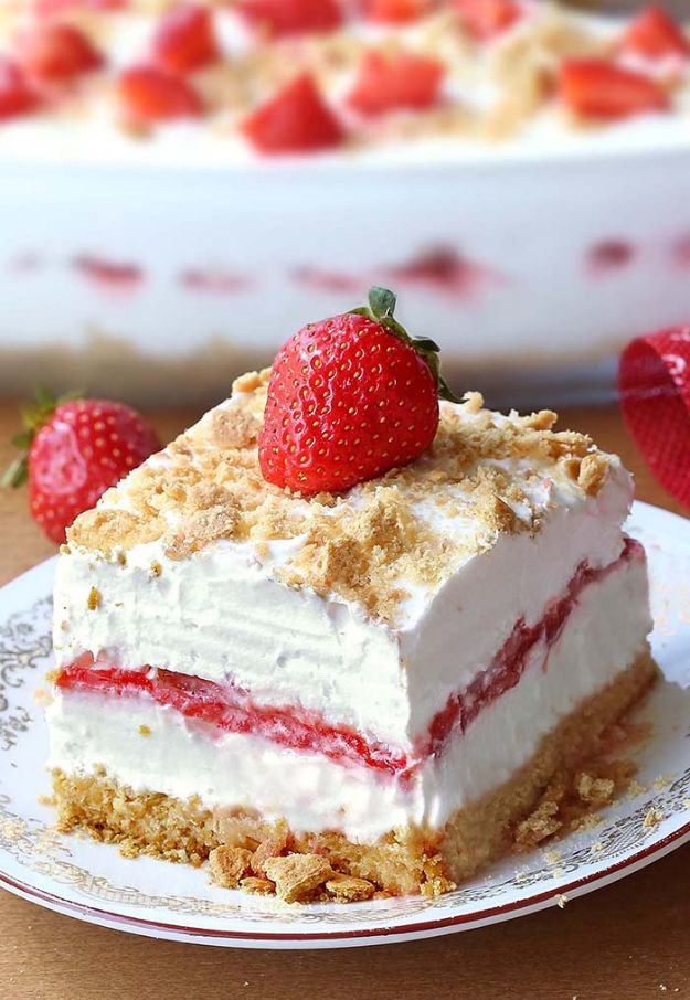 No Bake Desserts | No Bake Strawberry Cheesecake Lasagna - Quick Dessert Ideas and Easy Sweets You Can Make Without Baking - Healthy Cookies and Pie