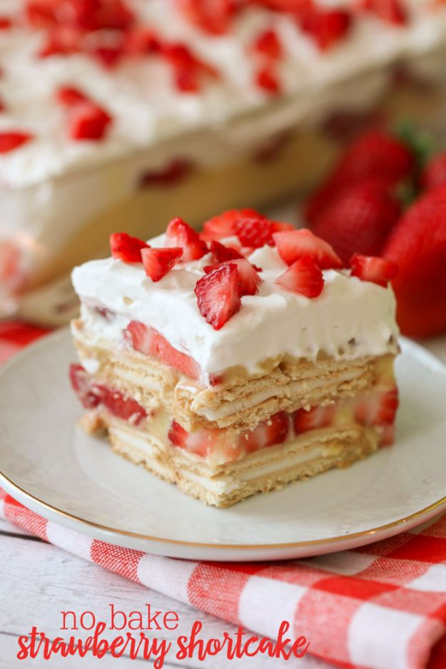 No Bake Desserts | No Bake Strawberry Shortcake - Quick Dessert Ideas and Easy Sweets You Can Make Without Baking - Healthy Cookies and Pie