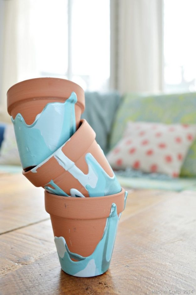DIY Ideas for Clay Pots - Ombre Drip Flower Pots - Cute Gardening Projects Tutorials for Decorating Pots - Pretty Rustic and Farmhouse Planters for Cheap Home Decor