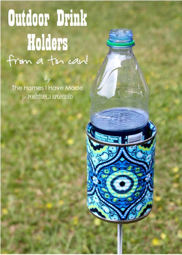 DIY Ideas With Tin Cans - Outdoor Drink Holders From Tin Can - Cheap and Easy Organizing Projects and Crafts Made With A Tin Can - Cool Teen Craft Tutorials and Home Decor