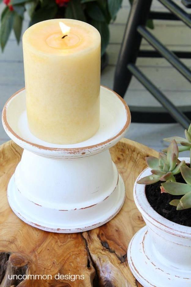 DIY Ideas for Clay Pots - Outdoor Terra Cotta Candle Holders - Cute Gardening Projects Tutorials for Decorating Pots - Pretty Rustic and Farmhouse Planters for Cheap Home Decor