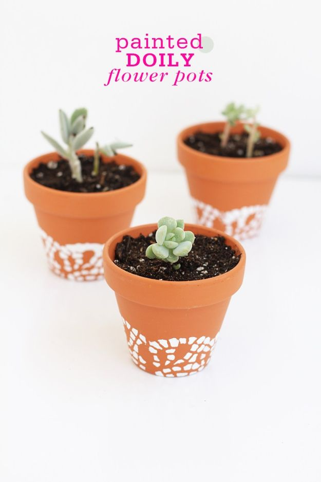 DIY Ideas for Clay Pots - Painted Doily Flower Pots - Cute Gardening Projects Tutorials for Decorating Pots - Pretty Rustic and Farmhouse Planters for Cheap Home Decor