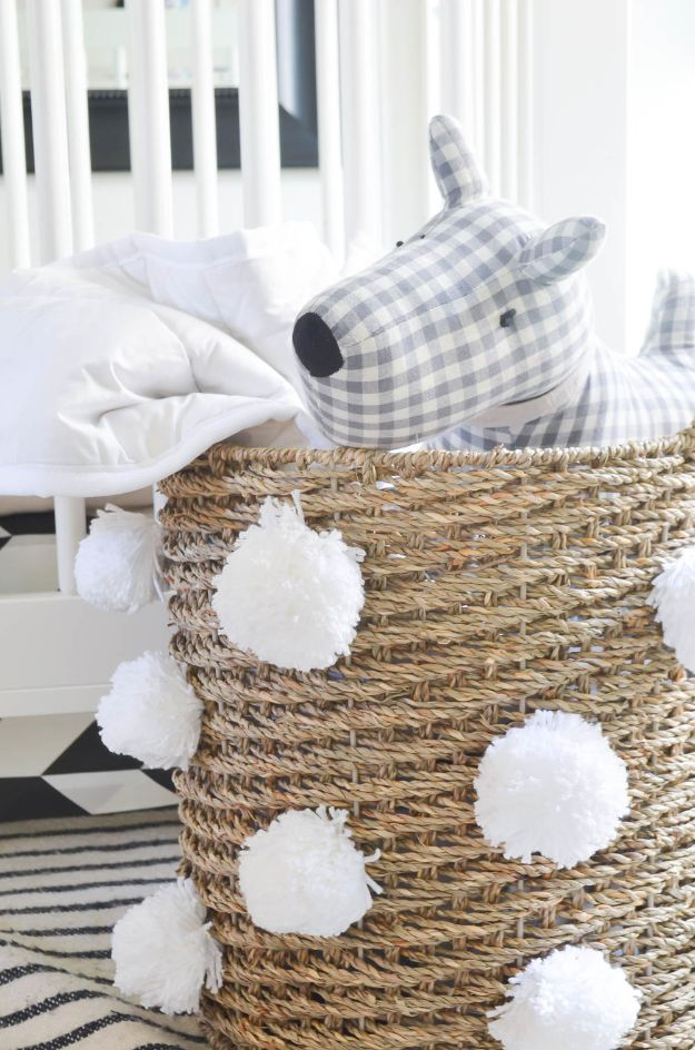 DIY Storage Baskets - Pom Pom Storage Basket - Cheap and Easy Ideas for Getting Organized - Creative Home Decor on A Budget - Farmhouse, Modern and Rustic Basket Projects