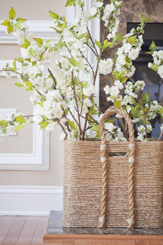 DIY Storage Baskets - Pottery Barn Inspired Beachcomber Basket - Cheap and Easy Ideas for Getting Organized - Creative Home Decor on A Budget - Farmhouse, Modern and Rustic Basket Projects