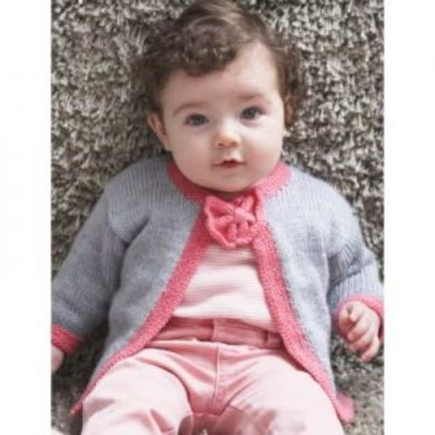 DIY Knitting Ideas for Baby - Pretty Bow Tie Cardigan - Easy Blanket, Hat, Booties, Toys and Sweater Tutorials to Knit for Babies - Boy and Girl Clothes and Nursery Decor for Gifts