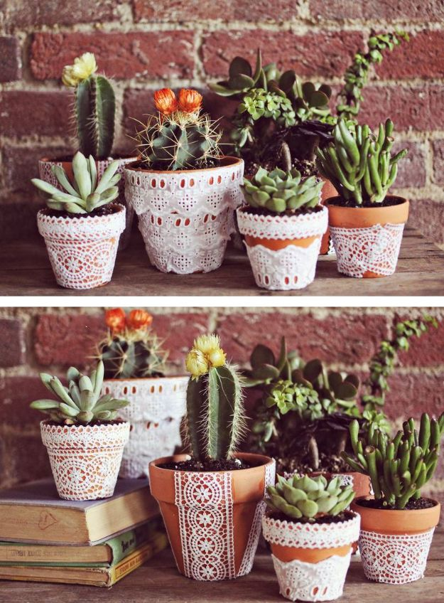 DIY Ideas for Clay Pots - Pretty Lace Terra Cotta Pots - Cute Gardening Projects Tutorials for Decorating Pots - Pretty Rustic and Farmhouse Planters for Cheap Home Decor