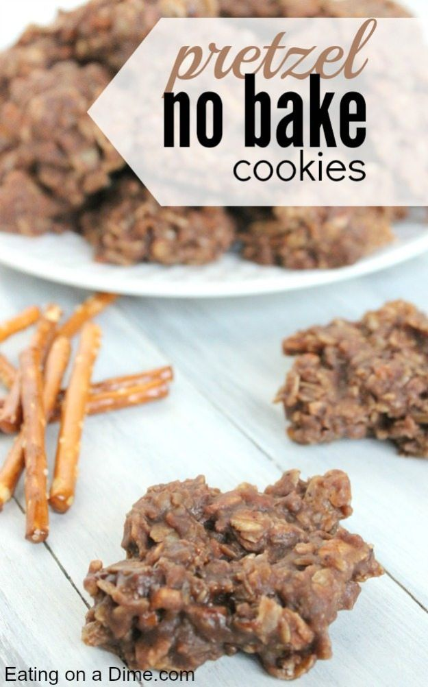 No Bake Cookie Recipes | Pretzel No Bake Cookie - Easy and Quick Recipe Ideas for Cookies | Oatmeal, Healthy, Gluten free