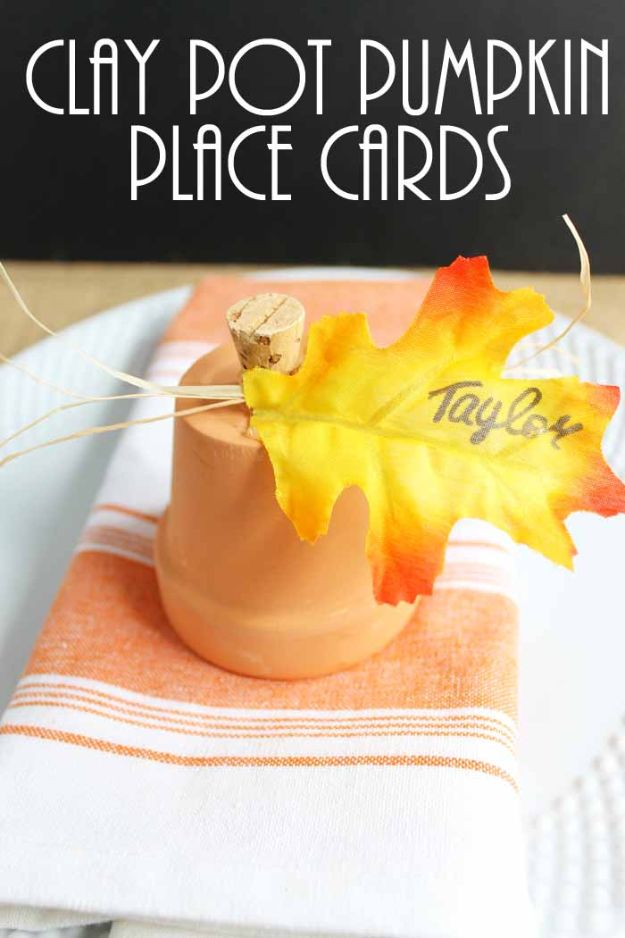 DIY Ideas for Clay Pots - Pumpkin Place Card - Cute Gardening Projects Tutorials for Decorating Pots - Pretty Rustic and Farmhouse Planters for Cheap Home Decor