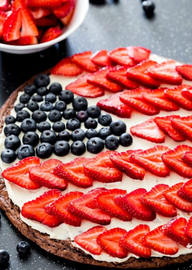 Brownie Recipes   Red White and Blue Brownie Pizza - Easy and Healthy Recipe Ideas for Brownies - Chocolate, Blondies, Gluten Free and Caramel
